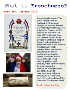 FREN 380, Jan-Apr 2019: What is Frenchness?